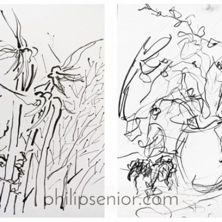 Contemporary art. Nature drawings by expressionist artist Philip Senior